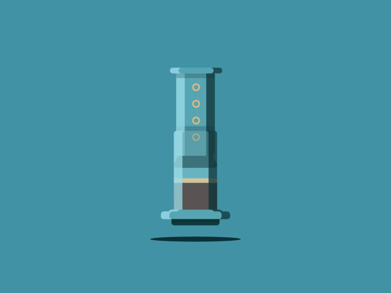 Aeropress vector illustration illustrator shadows highlights design contrast coffee aeropress brew