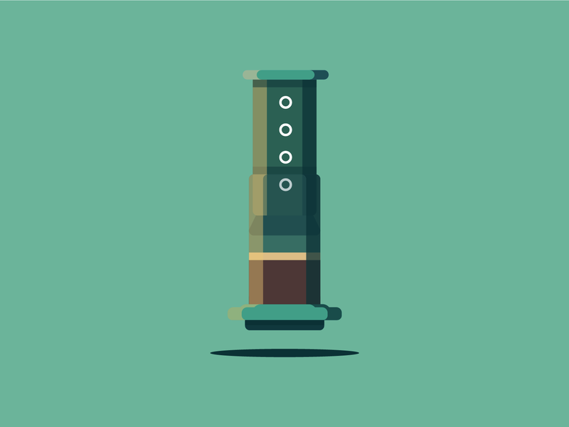AeroPress (Updated) highlights shadows illustrator vector contrast icon illustration brew coffee aeropress