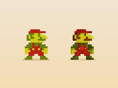 Mario Pixel mario vector sprite art retro pixel game videogame classic illustration suarez samuel