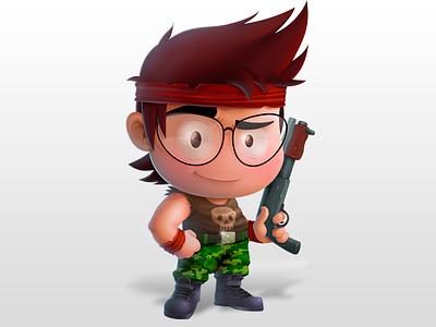 Ramboat Mambo ramboat samuel suarez illustration war shotgun vector photoshop kid game character art