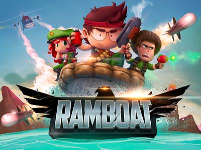 Ramboat  funny manbo illustration gun samuel suarez splash icon photoshop vector game ramboat