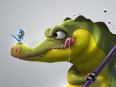 Crocodile game samuelsuarez green crocodile cartoon character bird illustration