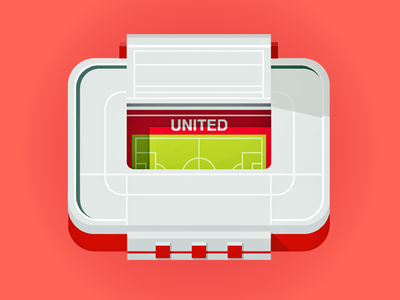 Old Trafford - UEFA CL Final 2003 england manchester flat architecture vector icon illustration europe stadium football league champions