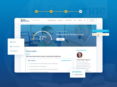 CureDuchenne :: Course Overview dashboard card style tags form portal iconography icons hover button navigation testimonial slider search hero homepage app product design web app website web