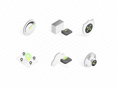 Telecom Industry :: Isometric Icons modern digital angles web design web grid gray neon tech isometric icon custom icons iconography icons branding brand