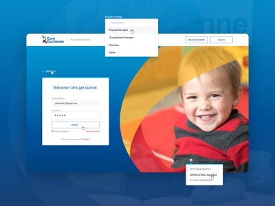 CureDuchenne :: User Signup dashboard card style tags form portal iconography icons hover button navigation testimonial slider search hero homepage app product design web app website web
