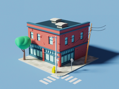 3D - Francisco Street colorful building 3d art design illustration 3d