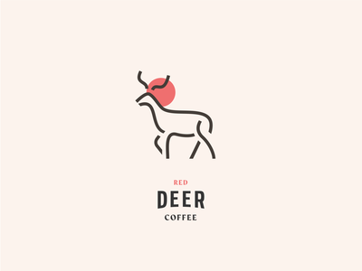 red deer coffee logo branding branding design typography iconography patch deer logo coffee deer icon logo design logo clean vector illustrator design