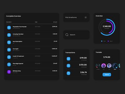 Dark UI Elements mobile web app black dark uielements elements ux vector uikit design clean uiux uidesign ui
