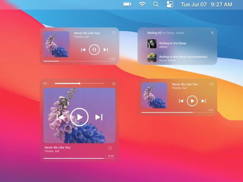 Music Widget for Big Sur blur widgets player music player bigsur osx macosx macos apple big sur widget music