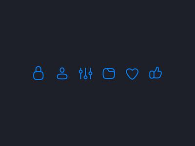 Icon Exploration icon set icon design icon thumbs up like settings folder heart lock person user iconography iconset icons