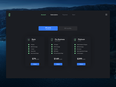 Pricing Exploration uidesign pricing plans payment components dark app dashboard select darkmode dark ui design price subscription pricing uiux ui