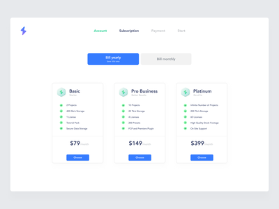 Pricing Exploration ui uiux light mode white subscription price select dashboard components payment pricing plans pricing uidesign