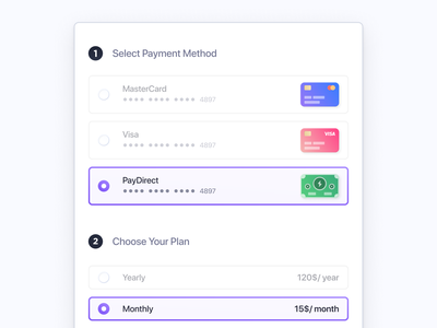 Payment Window iconography icons ui design plan yearly monthly cards component clean ux selection choice radio button payment uiux ui