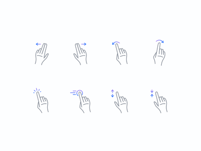 Gesture Icons icons drag pinch size rotate wipe touch gesture iconography iconset icon hand gestures