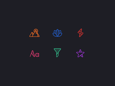 Icon Exploration icon exploration dark mode colorful lightning lotus frame mountain type filter star icons set iconset icons iconography