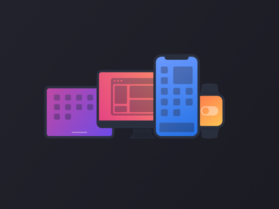 Device Icons gradient iconography icon set iconset icons apple iphone12mini iphone12 imac ipad iphone apple watch device icons devices