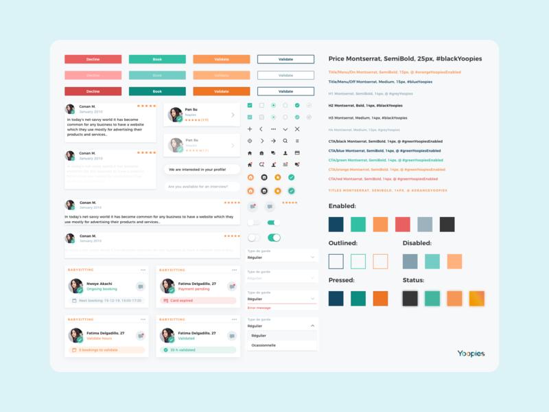Design System - Yoopies icons components cta colors ux  ui ui kit design system web ux branding app ui sketch design