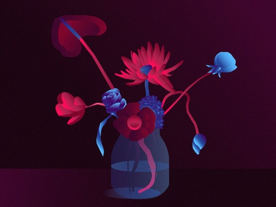 Hold me digital drawing illustration pink blue flowers vector