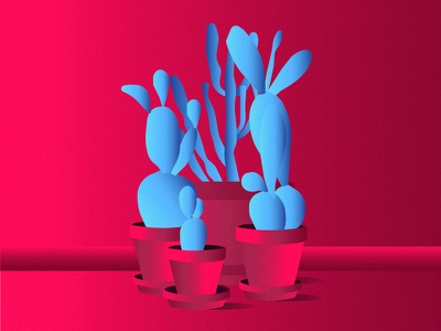 Touch me and feel the pain drawing blue plants pink illustrator illustration vector cactus
