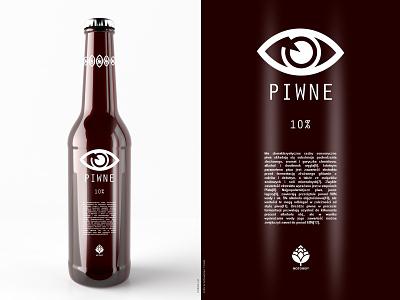 Piwne Beer bottle design bottle label etiquette eye aye simple brown label beer