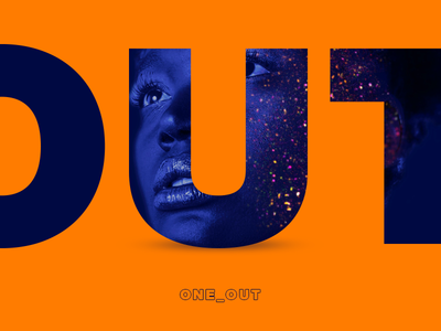 One_Out silence studioraz word game simple velvet invert text blue and orange blue orange out one color
