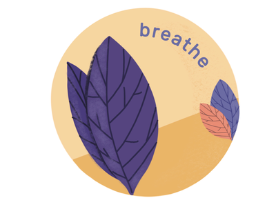 Breathe stickers digital design wellness mindful illustration