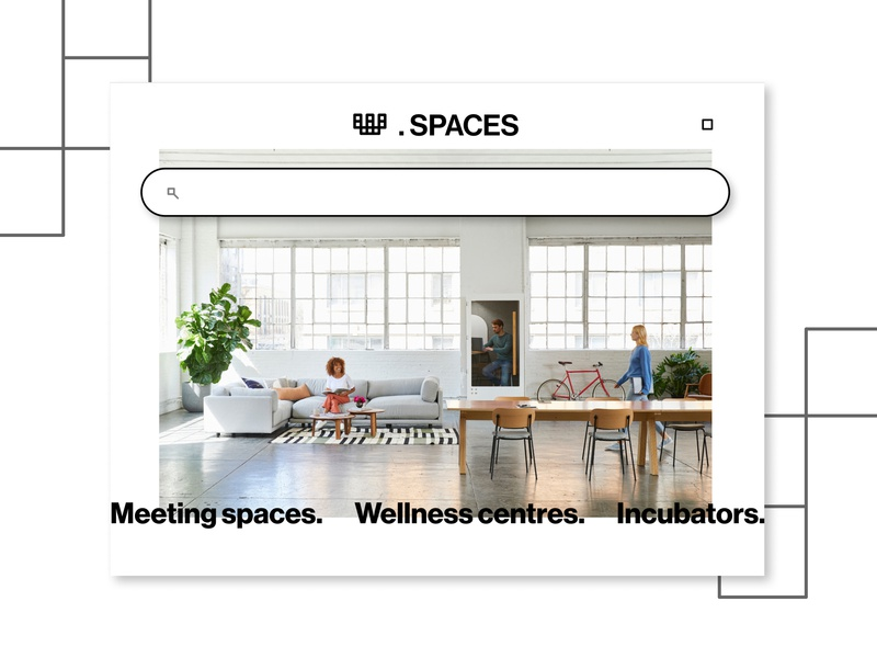 Co-working spaces website exploration minimal interior coworking space website logo icon flat design ui web web design typography