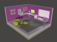Cartoon Girl Office - 3D