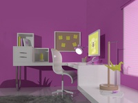 Cartoon Girl Office - 3D - 3