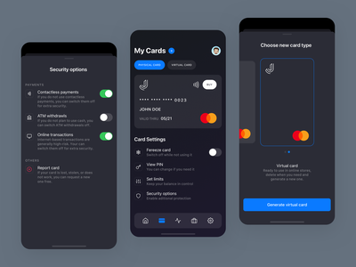 Credit Card App - Dark mode sketch app ux design ux ui design ui app design clean fintech mastercard creditcard credit card virtual apple ios app