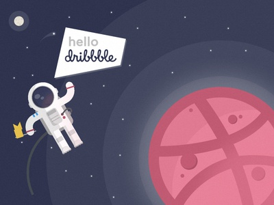 Hello Dribbble! astronaut planet space illustration hello first-shot dribbble debut