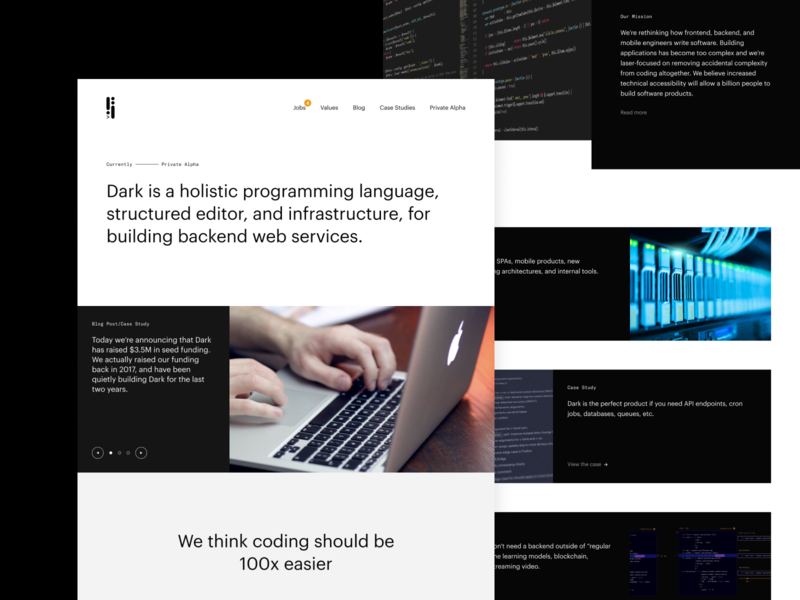 Dark- A language built for deployless backends figma product design
