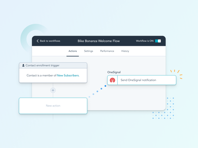 Automate OneSignal Notifications from HubSpot Workflows dashboard journey campaign workflow messaging message notification push mobile web hubspot