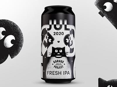 Fresh July. Can label cat white black label design texture 2d illustration can beer label