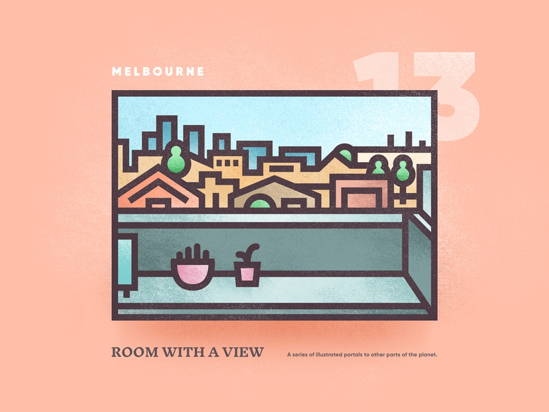 Room With A View – 13 melbourne vectorart city skyline street view scene window portal outdoor brutalism vector illistration 2d