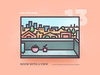 Room With A View – 13 melbourne vectorart city skyline street view scene window portal outdoor brutalism vector illistration 2d