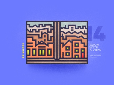 Room With A View – 14 street city edinburgh texture view window portal skyline outdoor linear illustration brutalism 2d vector