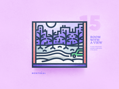 Room With A View - 15 winter montreal portal view window skyline linear texture illustration vector brutalism 2d