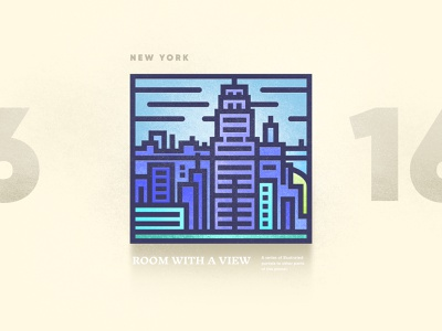 Room With A View – 16 building texture brutalism portal view window new york city skyline digital art vector illustratin 2d