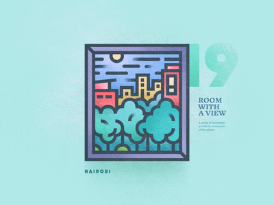 Room With A View - 19 portal landscape view room window texture 2d flat linear illustration vector brutalism