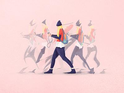 Walking past my window. motion phone flat blur girl walking movement 2d texture vector illustration character