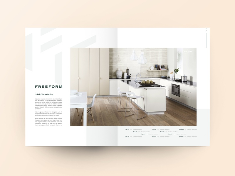 DPS - Freeform Laminates editorial title kitchen interior grid page spread dps brochure layout design