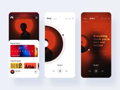 Music player interactive interface red ux ui jon jondesigner china music app