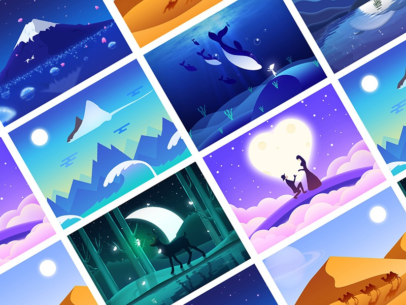 Illustrations colourful,插画 color gradient ui illustrations beautiful