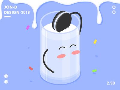 2.5D Oreo china milk illustration oreo 2.5d