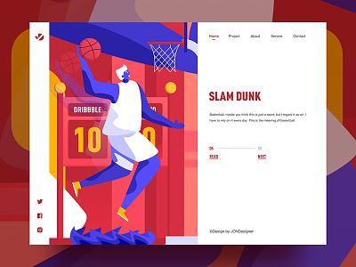 Slam dunk dribbble basketball fashion colorful ux illustration jon jondesigner ui china slam dunk