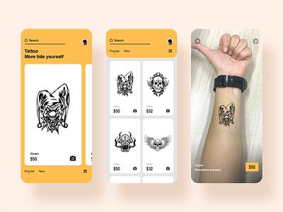 Tattoo live preview app design ux ui jon jondesigner live