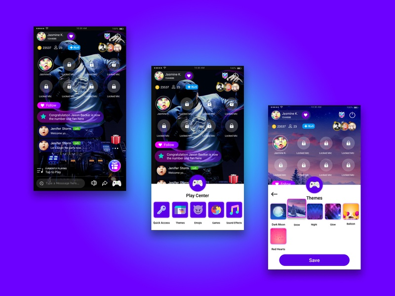 Group Voice Chat Room group voice rooms app concept app ui uidesign themes live room live voice chat play center group voice talking voice chat room chat room voice chat