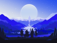 Journey to the West silhouette mountain illustration
